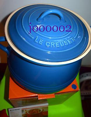 Le Creuset BEAN POT Heritage Stoneware 4.5 Quart ** Marseille Blue ** Fast Ship