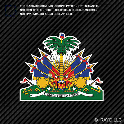 Sticker coat of arms flag car vinyl decal outdoor bumper shield haiti