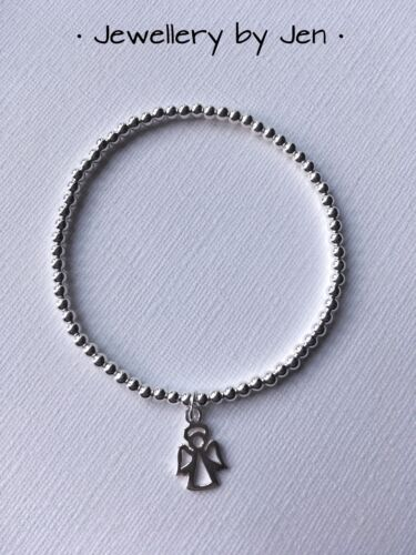 STERLING SILVER BEADED STRETCH BRACELET WITH ANGEL CHARM HANDMADE STACKING