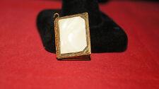 Vintage Photo Locket Charm Pendant Book Mother of Pearl WW II Era Brass