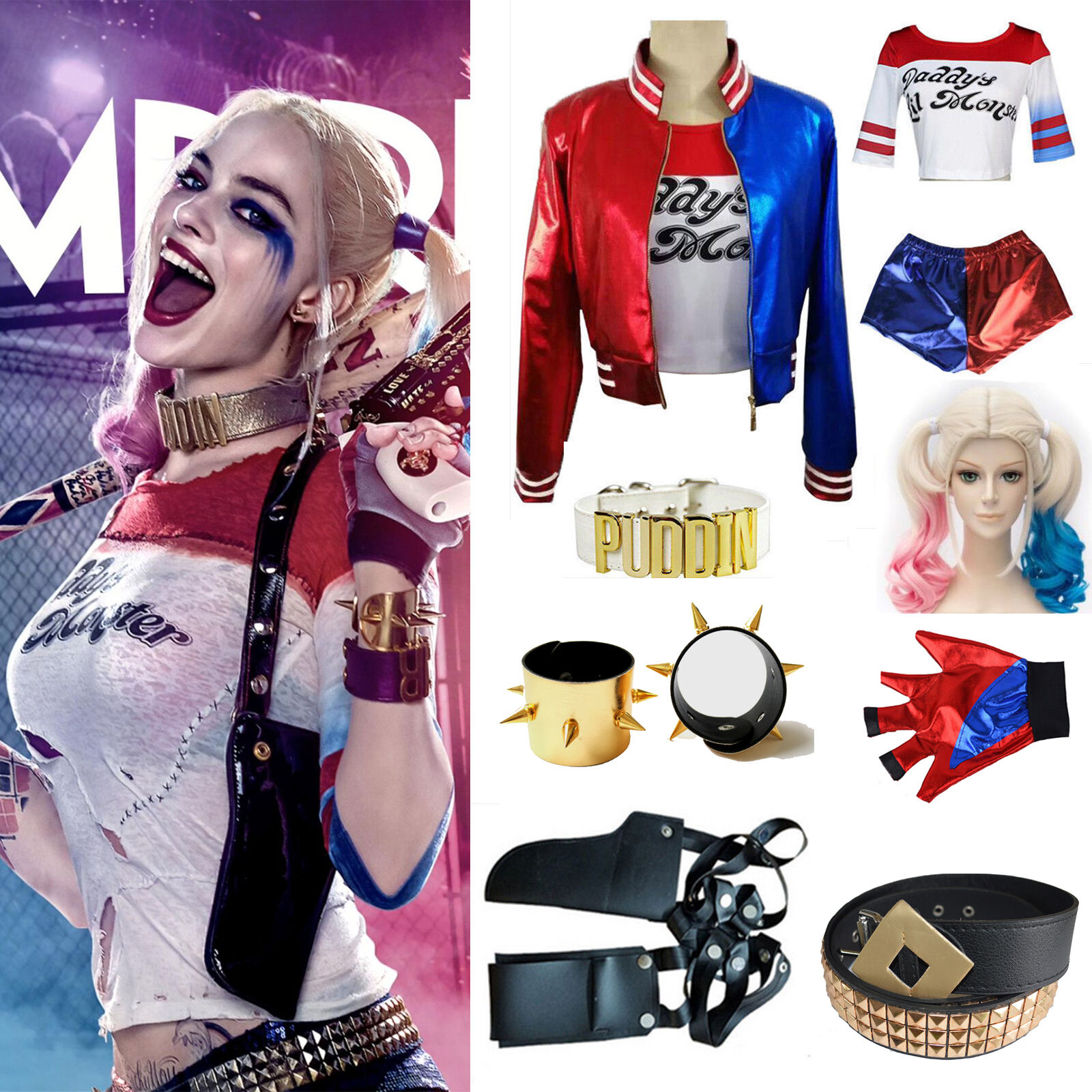 Halloween Harley Quinn DC Comic Suicide Squad Shirt Coat Top Cosplay Holster Lot