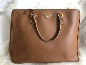 Details about Prada Saffiano Lux Large Tote Bag Handbag Beige Caramel, gold details