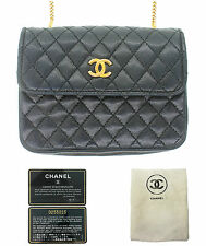 Authentic Ladies Vintage CHANEL Black Quilted Lambskin Mini Wallet on Chain Bag