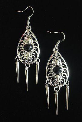 Earrings  Silver Hippie Bohemian Ethnic Boho  Tribal Steampunk Spikes A1081
