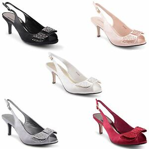 Womens Kitten Heel Shoes Ladies Diamante Peep Toe Prom Party