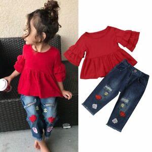 c630f15fc83d Set Clothes Girls Toddlers Tops Pants 2pcs Cotton Denim Summer ...