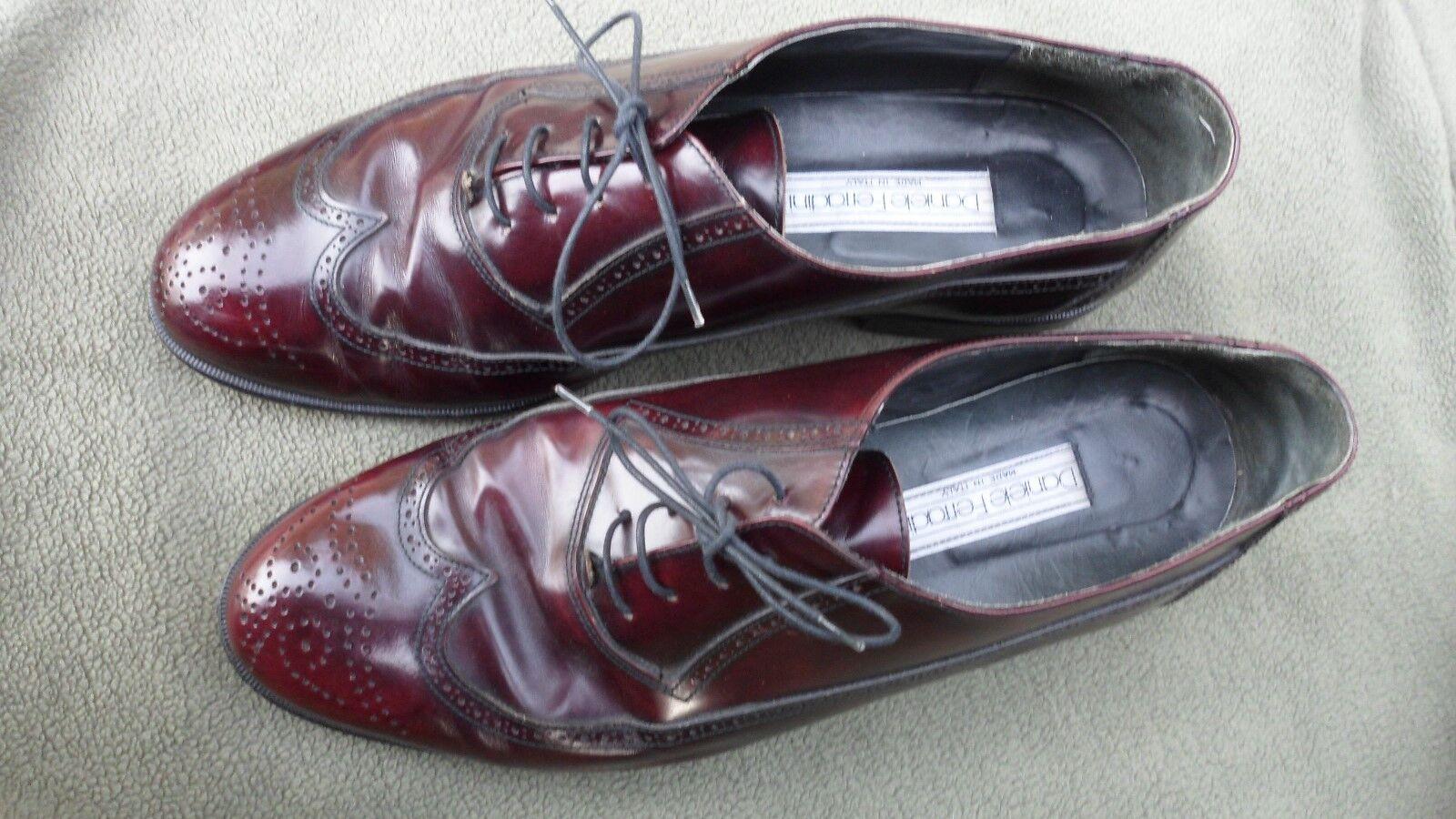 Men's DANIELE FERRADINI Brown Leather Brogue Wing Tip Oxfords - Size 11