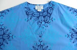 First-Hawaii-Fashion-Floral-V-Neck-2-Front-Pockets-Women-039-s-Blue-Scrubs-Size-S