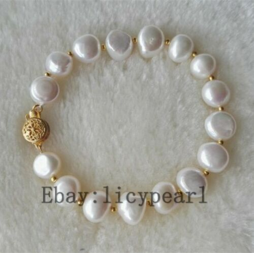 10-10.5mm weiß barockes Perle Armband 8inch