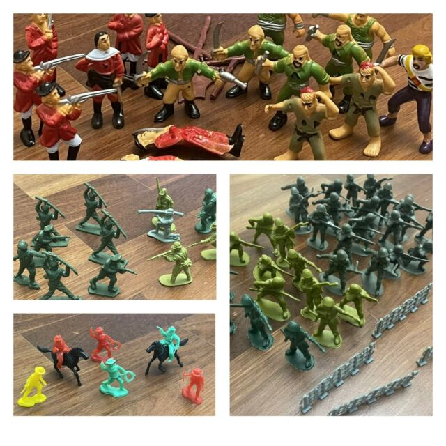 Lot Of 67 Mixed Vintage Plastic Toy Soldiers,Cowboys ,Barbarians & Pirates