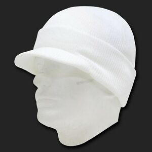 3ef7c3453e6 New White Ski Visor Beanie Hat Cap Knit Skull Winter Jeep Snowboard ...