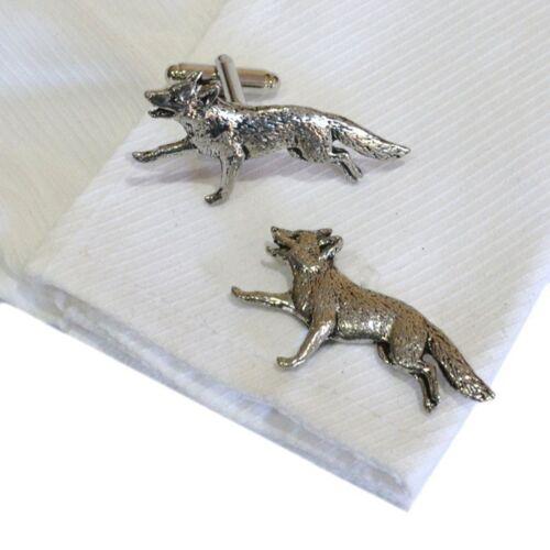 English Pewter FOX Running Cufflinks Xmas Gift NEW Hunting Animal X2TSBCA3