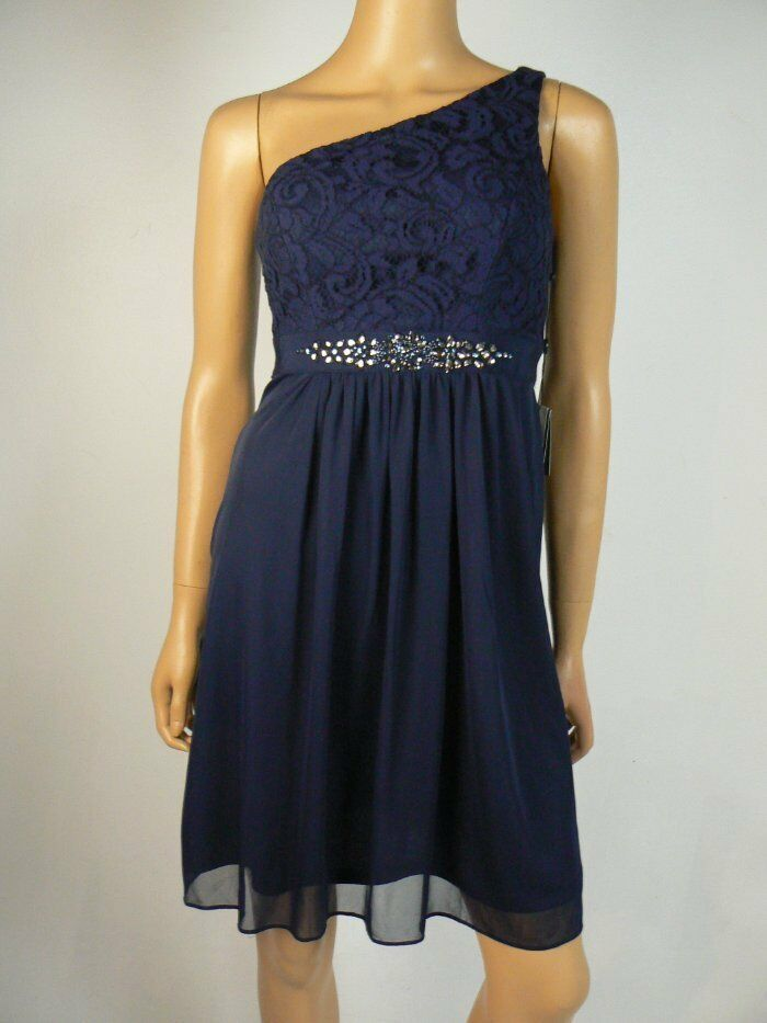 160 Adrianna Papell Navy bluee Lace Jersey Mesh One Shoulder Dress 2 NEW A947