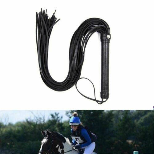 Whip Cat Tails Leather Equestrian Riding Crop Black Horse Show Flogger Spurs