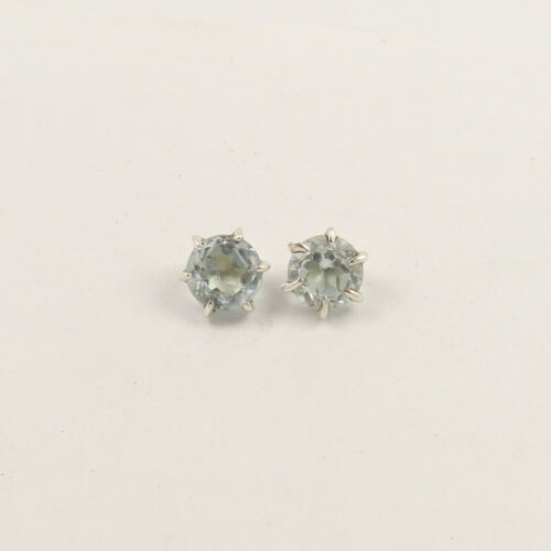 Stud Earrings Natural Blue Topaz 4mm Round Faceted Gemstone 925 Sterling Silver