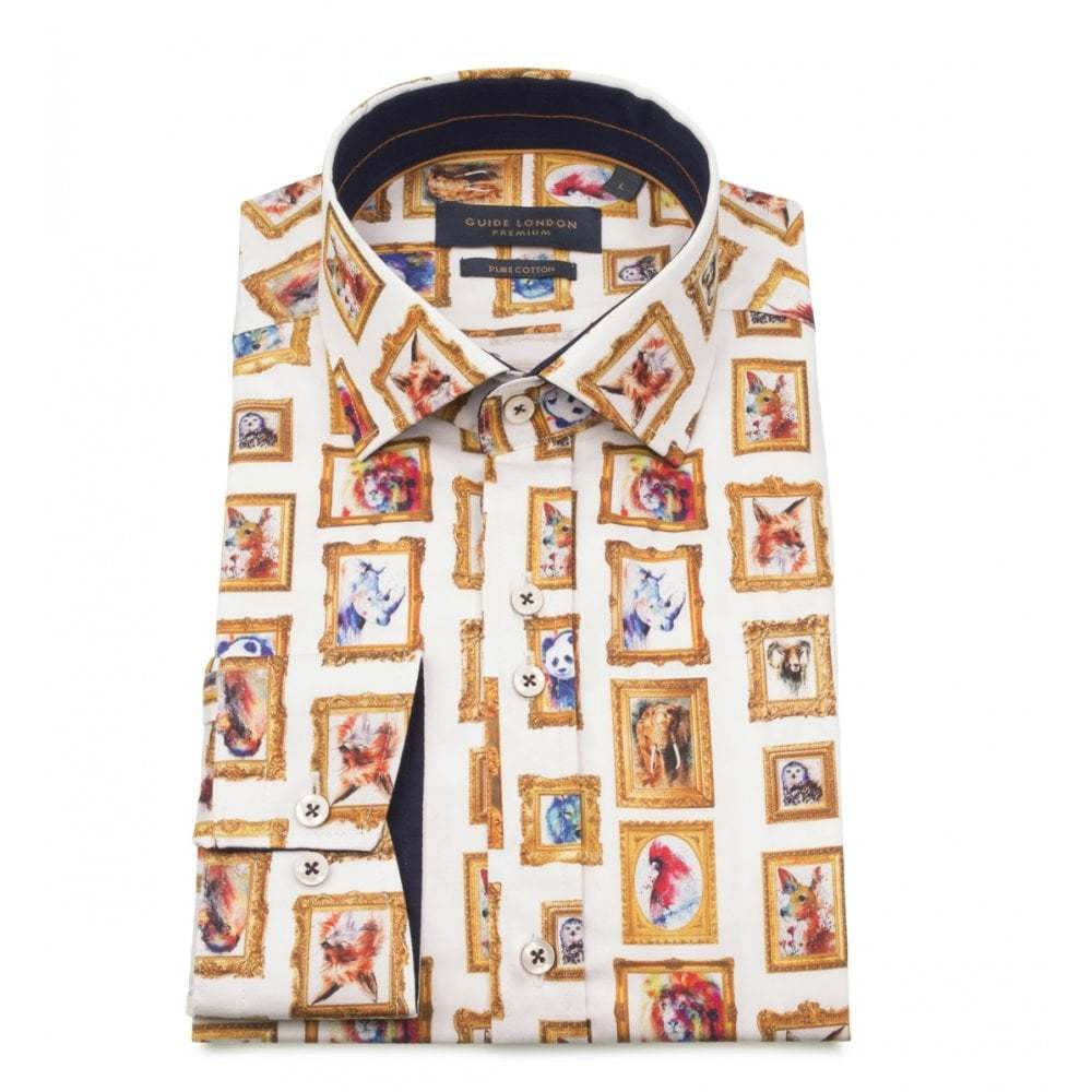 Guide London Cotton Sateen Animal Picture Frame Print Mens Shirt LS74801