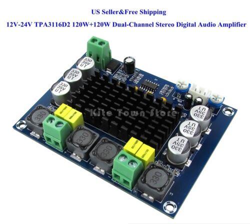 US 12V-24V TPA3116D2 120W+120W Dual-Channel Stereo Digital Audio Amplifier