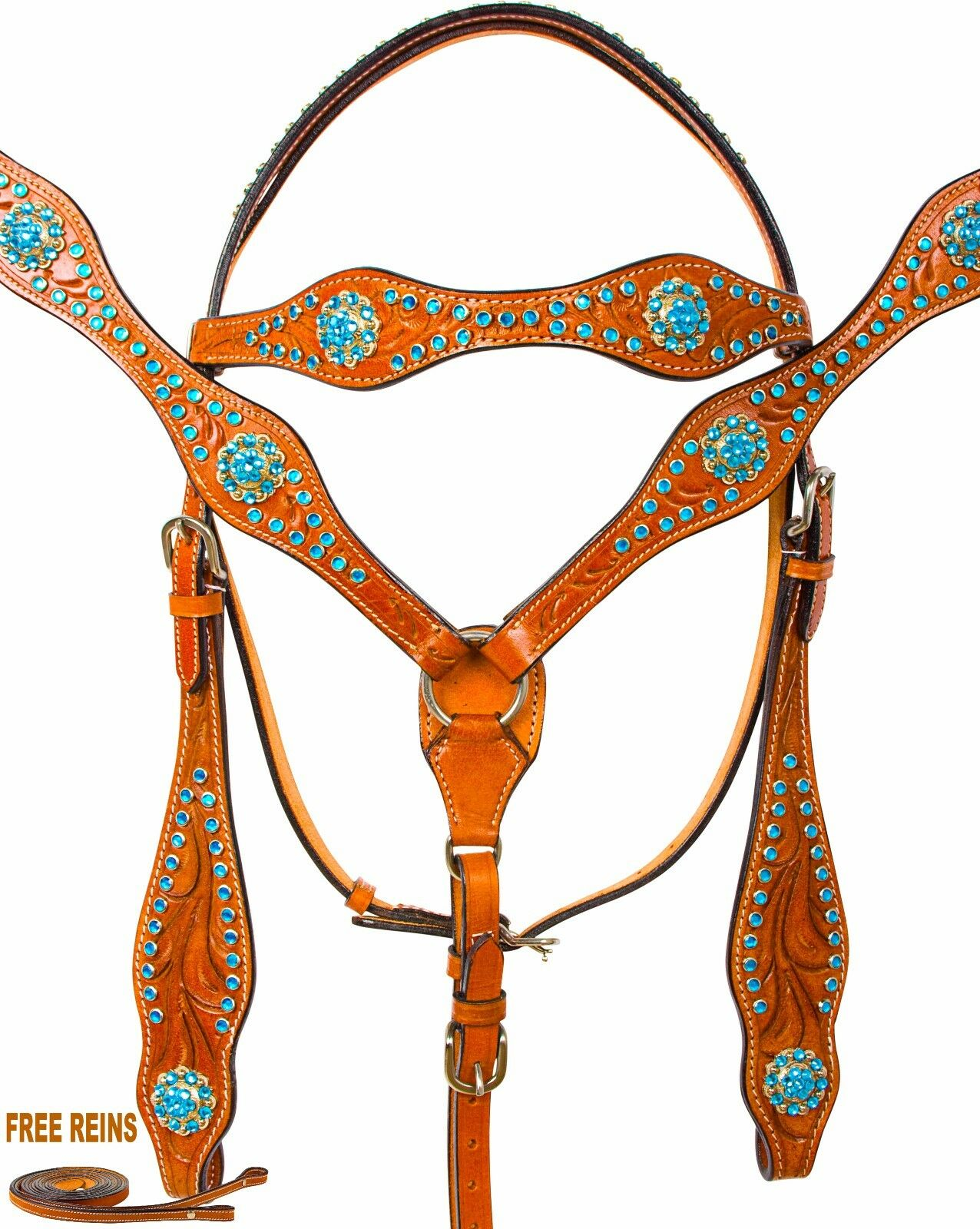 USED LEATHER WESTERN HEADSTALL BRIDLE BREAST COLLAR TRAIL SHOW REINS TURQUOISE