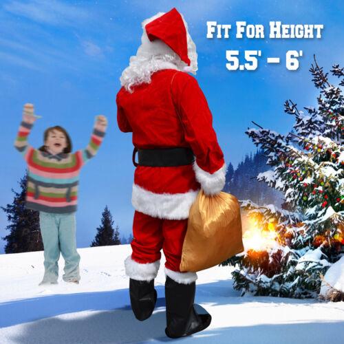 Deluxe Santa Claus Suit Christmas 10pc Plush Adult Costume Fancy Dress