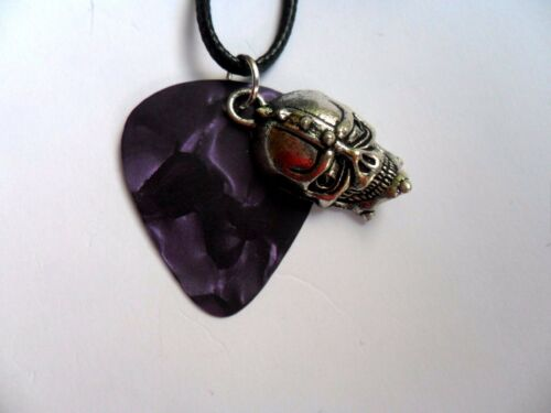 Unusual Guitar Pick and Skull Pendant Leather Necklace   Six To Choose From