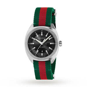 GUCCI GG2570 Black Dial Red Green Stainless Steel Nylon Men s Watch ... 0cf901cf3e