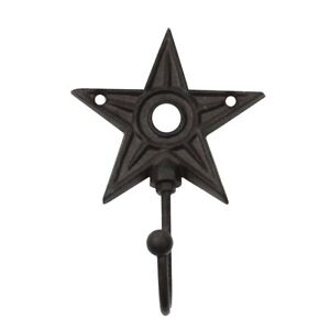 Rustic Primitive Barn Star Metal Wall Mount Hook Key Ring/Coat/Hat/<wbr/>Leash Holder