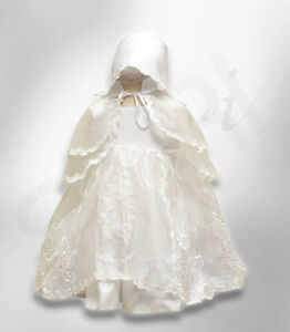 ea5501c9e Baby Girls Designer Ivory Christening Gown Bonnet Embroidered ...