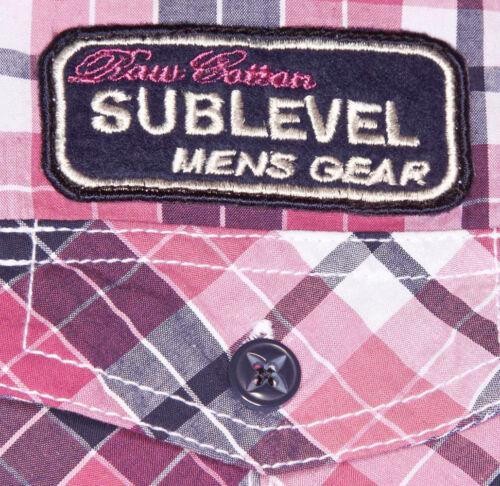 Sublevel Uomo Camicia Tempo Libero Camicia Quadri-Camicia Tg S-XXL ROSA//a Quadri