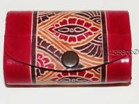 Hand-tooled Shantiniketan Red Leather Double Lipstick Case
