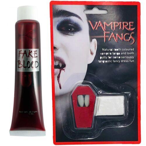 Halloween Vampire Dracula Canines et Faux Sang Déguisement Dents /& Mastic