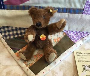 Steiff Stuffed Animal, Mini Teddy Bear, Mohair, Germany, Brown, 039331