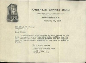 1936 Manchester New Hampshire (NH) Letter Amoskeag Savings Bank Frank W. Steele