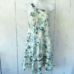 New-Free-People-All-Mine-Mini-Dress-S-Small-Ivory-Floral-One-Shoulder-Linen