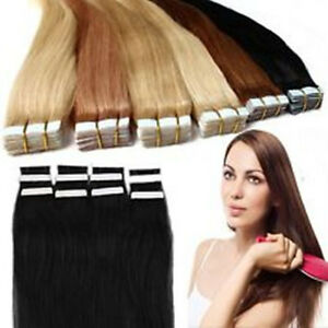Seamless tape skin 100 real human hair extensions straight 16 26 image is loading seamless tape skin 100 real human hair extensions pmusecretfo Images