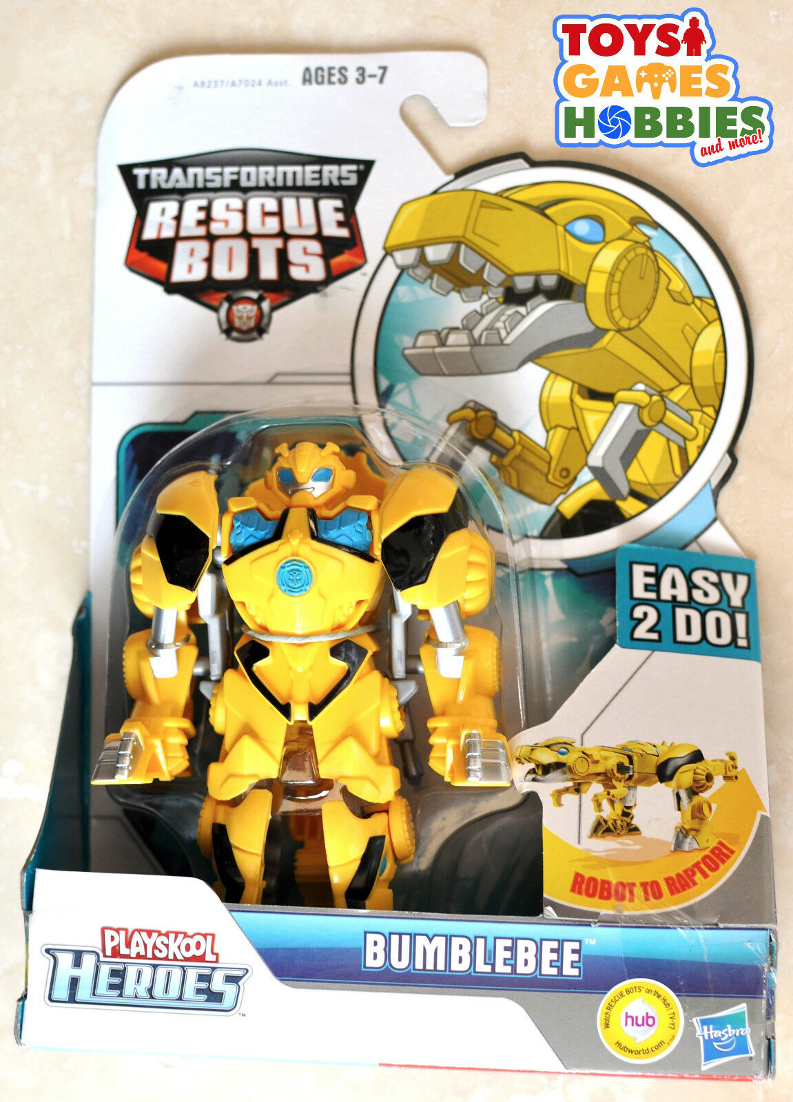 NEW Transformers Rescue Bots Bumblebee Raptor Dino Transforming Toy Figure Bot