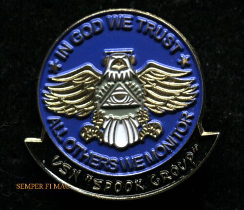 """US NAVAL INTELLIGENCE /""""IN GOD WE TRUST-ALL OTHERS WE MONITOR HAT//LAPEL PIN"""