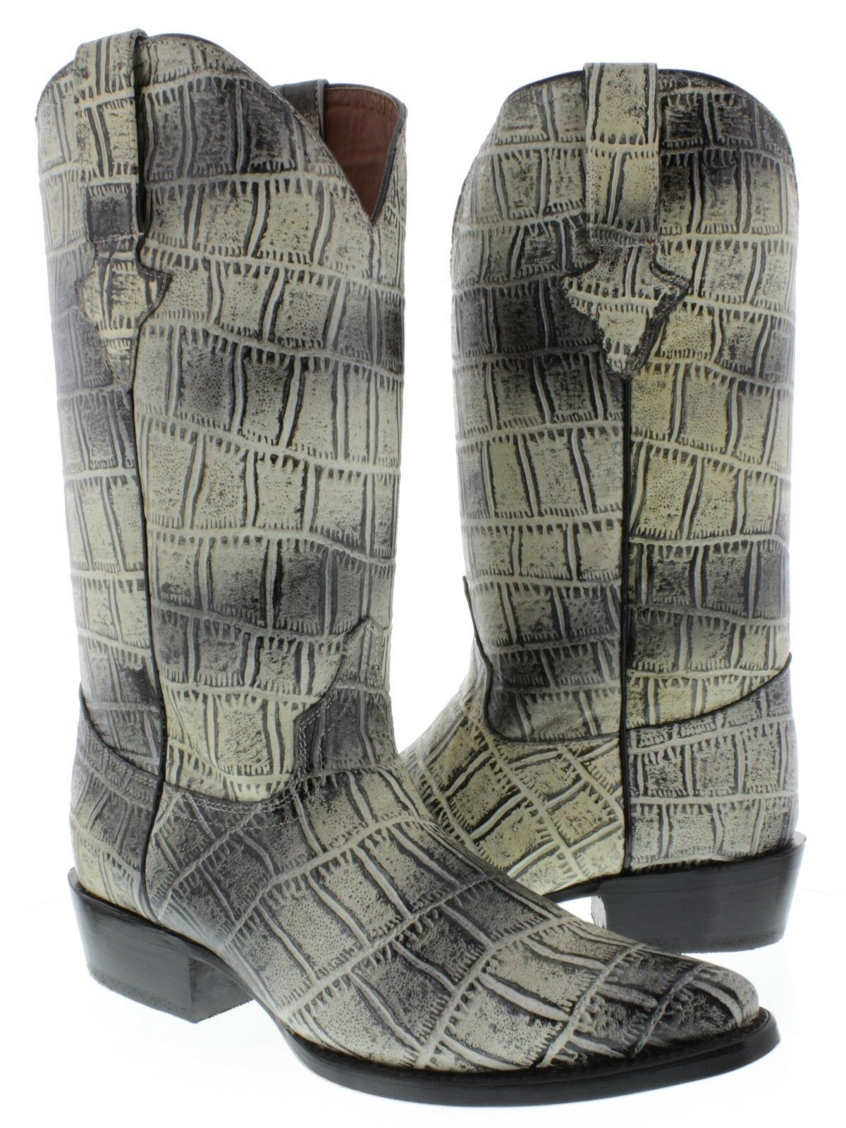 Men's New Natural J Toe Western Rodeo Genuine Leather Full Crocodile Belly