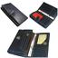 Portafoglio donna in pelle Custodia TRIPLA colore blu scuro carta di credito ID cassa chiusura con cerniera e open pacch