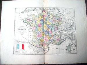 1842-GRANDE-CARTA-GEOGRAFICA-DELLA-FRANCIA-COLORATA-D-039-EPOCA-EDITA-A-FIRENZE