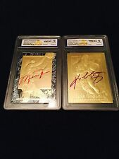 "MICHAEL JORDAN & KOBE BRYANT AUTOGRAPHED GEMMT 10 23KT GOLD ROOKIE ""2"" CARD LOT!"