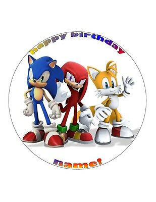 """7.5/"""" 19cm SONIC THE HEDGEHOG 2 PERSONALISED WAFER//FONDANT PAPER CAKE TOPPER"""