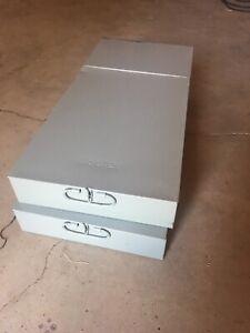 "SAFE DEPOSIT BOX  METAL BOX  VINTAGE 10""x2.75""x21.5"" Used lot of Two (Mosler)"