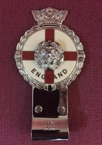 Royale-Heavy-Chromed-Brass-Car-Badge-ENGLAND-TUDOR-ROSE-Desmo-Clip-B6-001
