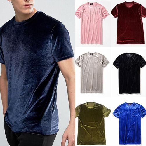 Men Lady Unisex Velvet Short Sleeve T-Shirt Crew Neck Top Tee Shirts Streetwear