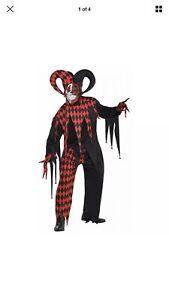 New-Krazed-Crazy-Jester-Black-Red-Costume-Adult-size-XXL-48-52-No-Gloves