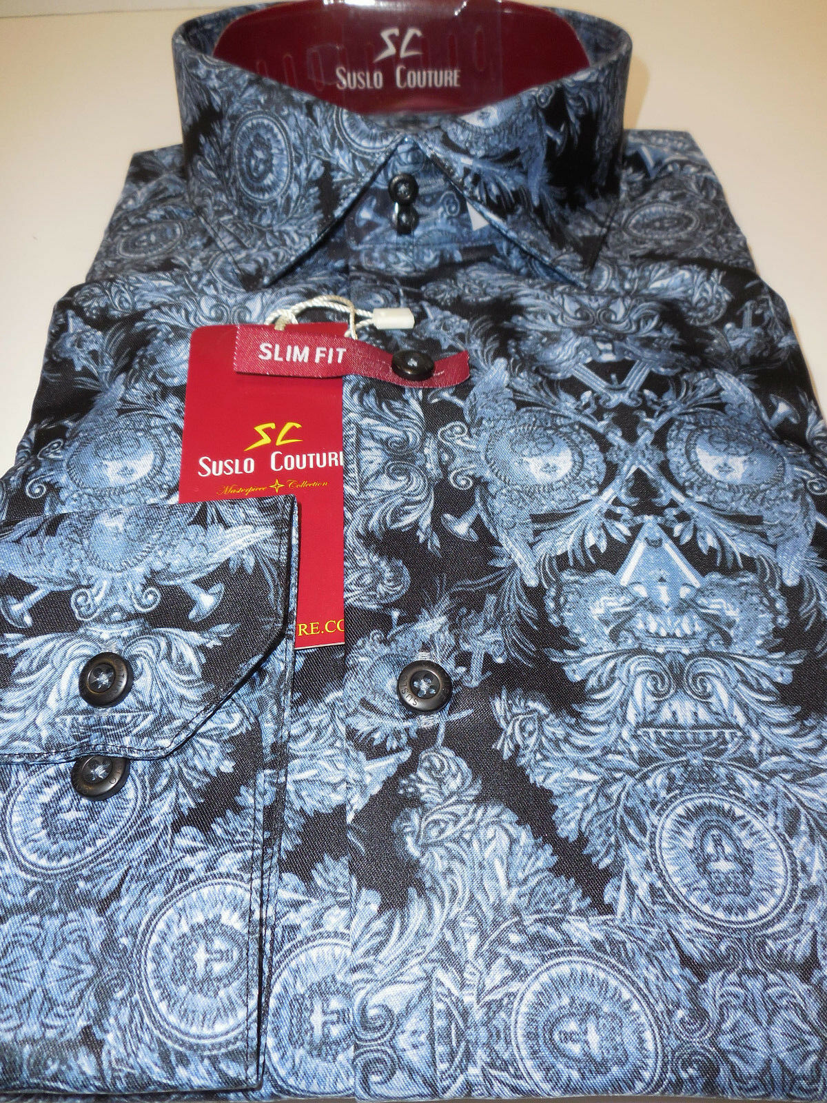 Mens Dark bluee Artistic Concept Modern Fit Clubbing Shirt Suslo Couture M14