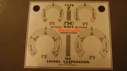 "250 watt /"" Train Master Transformer stick on Name Plate Lionel /""TYPE Z"
