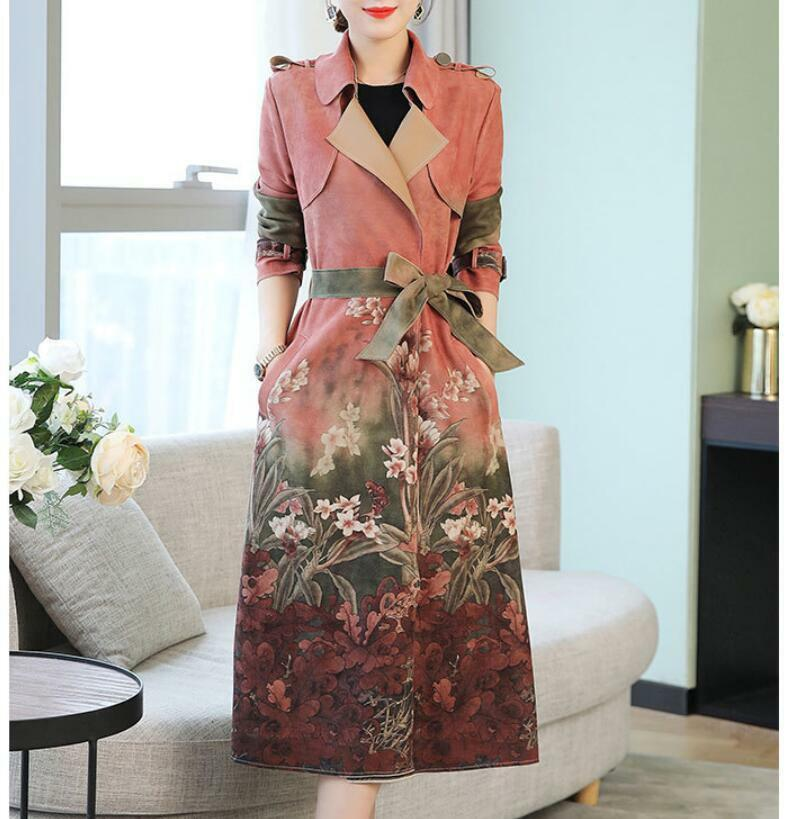 Fashion Women Duster Coat Floral Print Lapel Mid Long Full Sleeve Belted Clothes