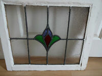 """Reclaimed Leaded Stained Glass Window -14.25"""" x 17""""- individual pains of glass"""