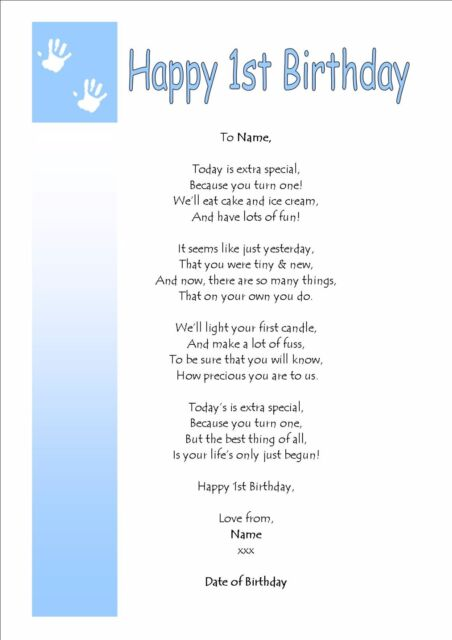 Personalised On on your FIRST 1st Birthday BOY GIRL Keepsake Gift Card Poem
